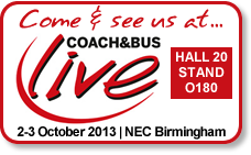 See us at the Coach & Bus Live Exhibition on the 2 - 3 October 2013, Hall 20 Stand O180